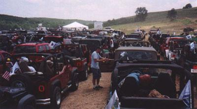 We line up for the start of our 4x4 Offroad Challenge at Camp Jeep 2002
